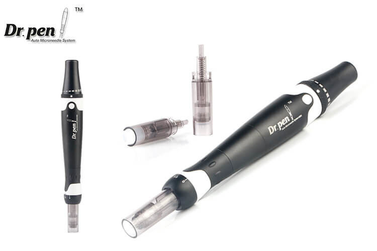 Black Metal Shell Auto - Stamp Micro Derma Pen With Medical Cartridge